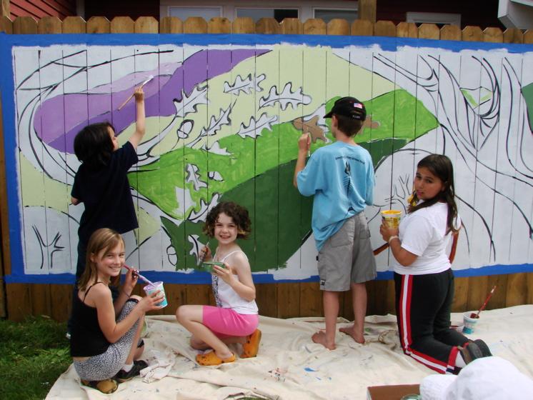 Great oak community mural project tree town murals for Children s mural