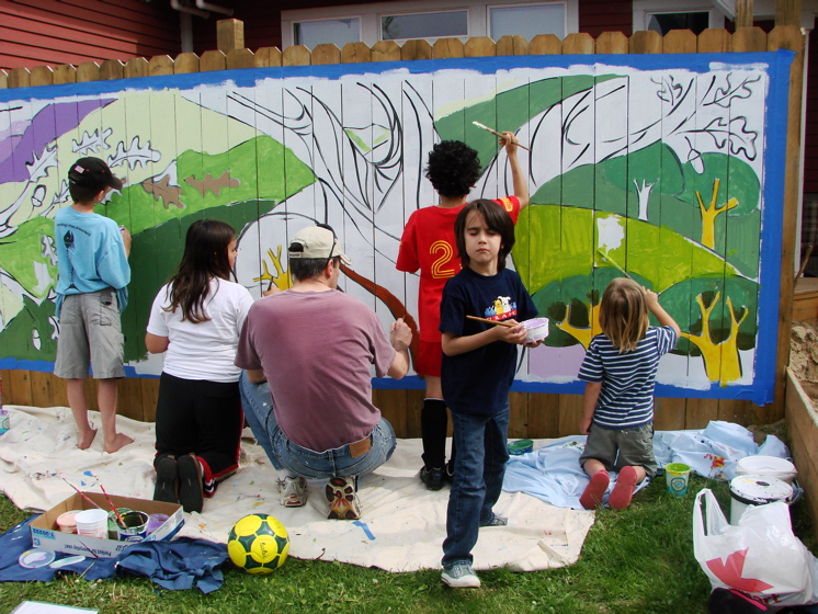 Great oak community mural project tree town murals for Community mural project