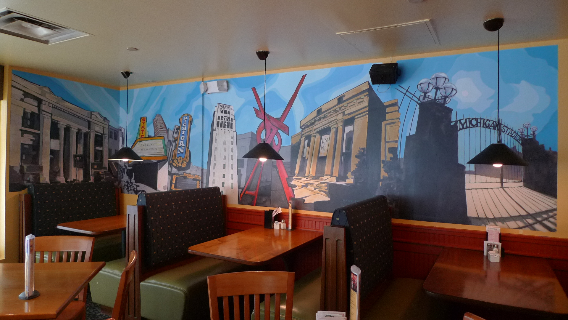 Guy hollerins restaurant murals tree town murals for Mural restaurant