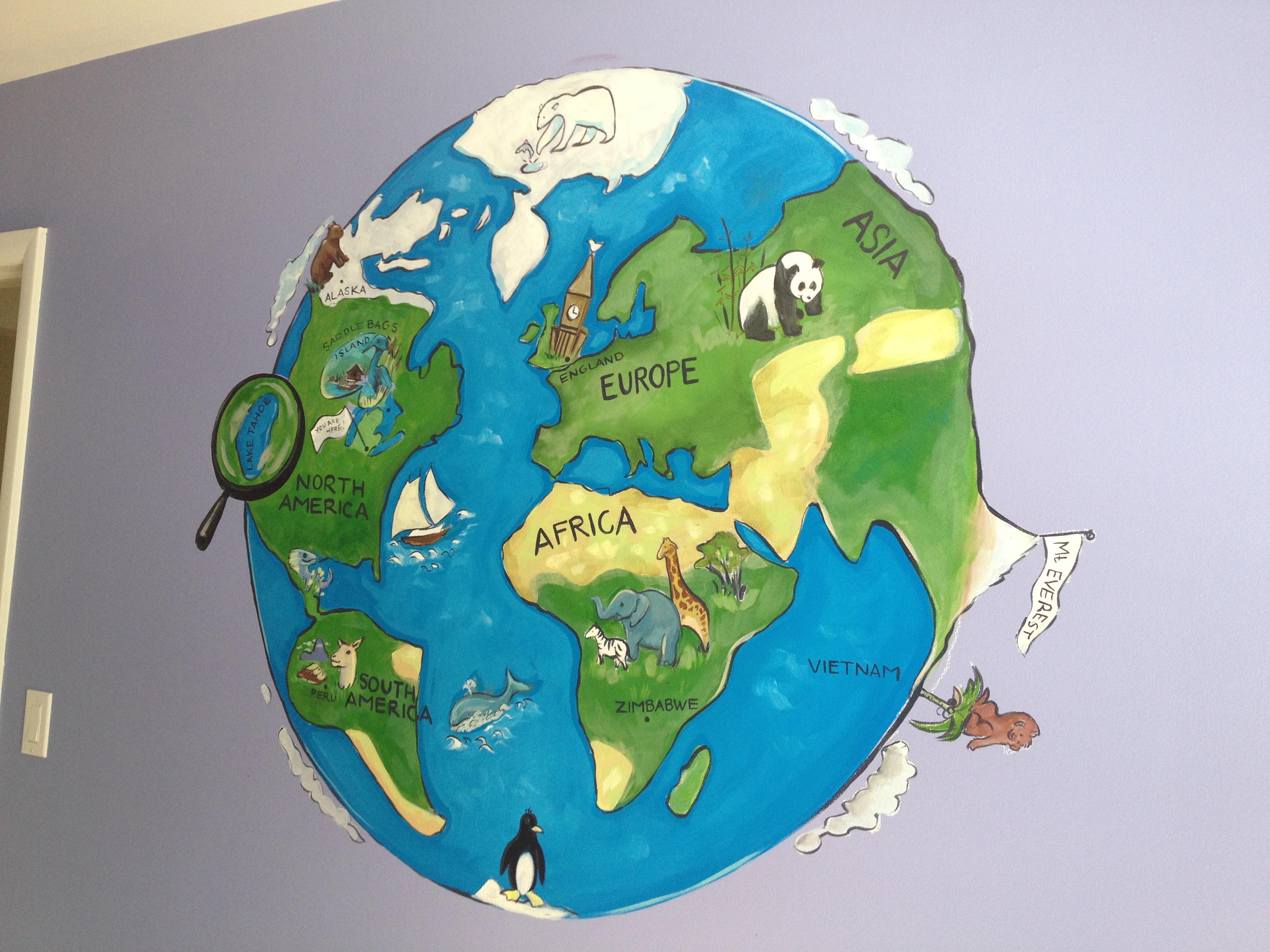 custom world mural