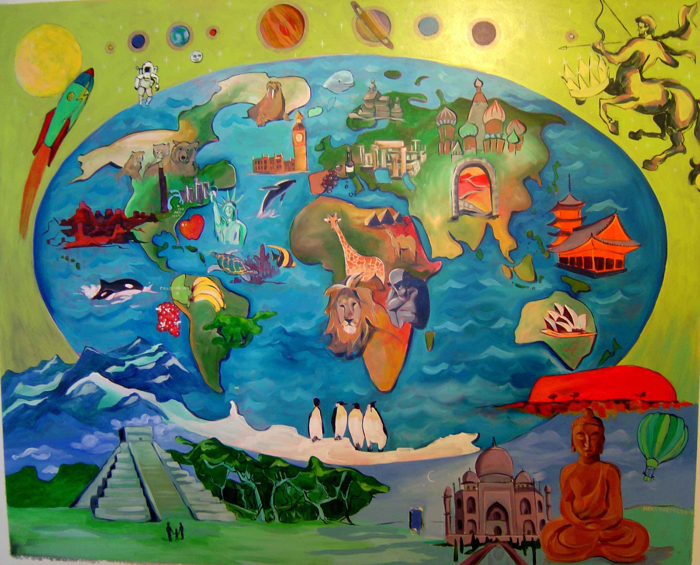 More children 39 s room murals tree town murals for Children s mural