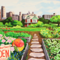 University of Michigan – Detroit Urban Garden Mural – Grace Lee Boggs Lounge